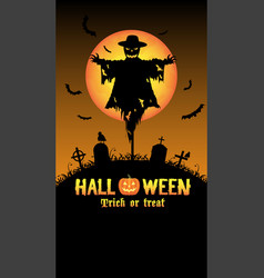 scarecrow with halloween graveyard card vector image
