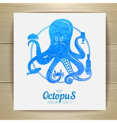 Seafood menu design Octopus vector image