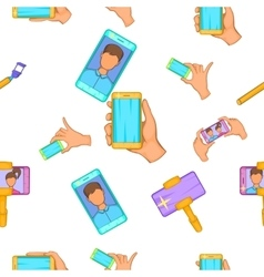 Selfie pattern cartoon style vector image