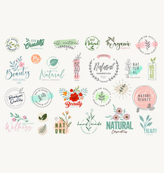 Set beauty badges and elements vector