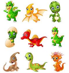 Set of cartoon dinosaurs collections vector