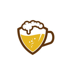 Shield beer logo icon design vector