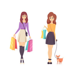 shopping young women carrying lots of bags vector image