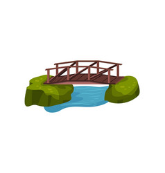 Small wooden bridge over blue pond or river vector