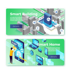 smart home and building banner template set vector image