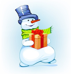 Snowman holding a gift vector