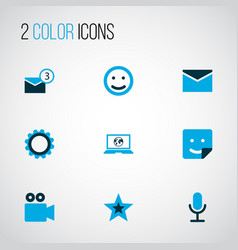 Social icons colored set with inbox gear laptop vector