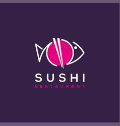 sushi restaurant logo ilustration vector image