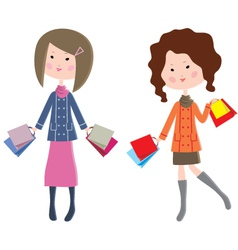 Two cartoon women with packages vector image