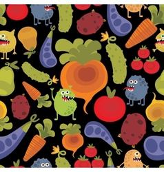 Vegetables and fruits with microbes vector image