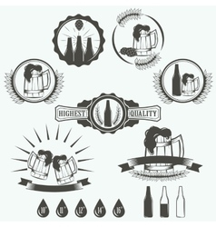 Vintage beer brewery emblems labels and design vector
