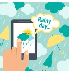 Weather smart phone rain vector image