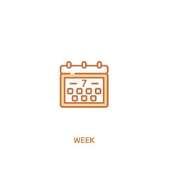 Week concept 2 colored icon simple line element vector