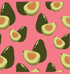 Whole avocado and half with a bone on a pink vector