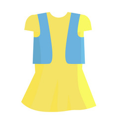 Yellow summer girly dress with blue jeans jacket vector