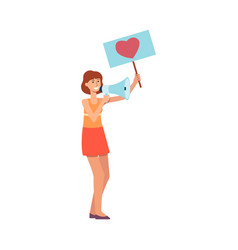 Young woman holding placard with heart symbol and vector