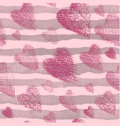 beautiful seamless pink background with hearts vector image