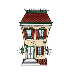 Cute colored doodle house vector image