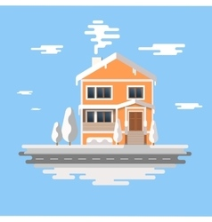 Winter house image of the orange brick vector image