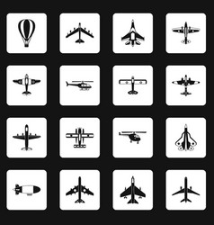 Aviation icons set squares vector