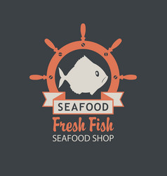 banner for seafood shop with a fish and helm vector image vector image