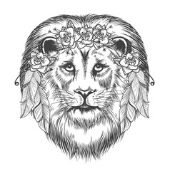 boho style sketch lion with flowers vector image vector image