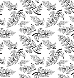 Branch with leaves Seamless Pattern on white vector image vector image