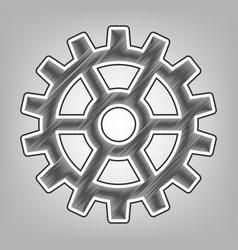 gear sign pencil sketch imitation dark vector image vector image