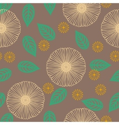 pattern with flowers drawn in thin lines vector image vector image