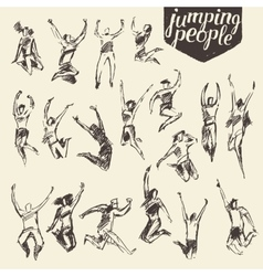 Set sketches silhouette jumping persons vector image