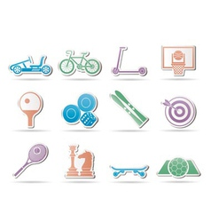 sports equipment and objects icons vector image vector image