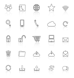 Communication line icons with reflect on white vector image vector image