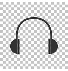 Headphones sign Dark gray icon on vector image vector image