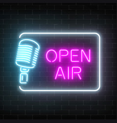 neon open air signboard with microphone in vector image