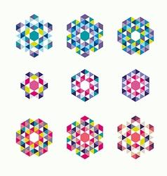 Ornamental mosaic logo template set symbols icons vector image vector image