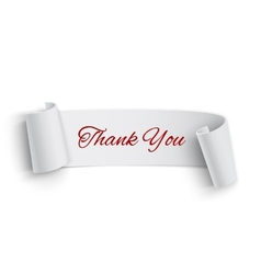 Realistic detailed thank you curved paper banner vector image