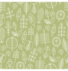 Seamless pattern of leaves floral background vector image
