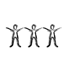 contour people with hands up icon vector image vector image