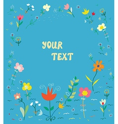 Floral card with frame - simple design vector image vector image