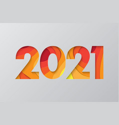2021 new year background in cut paper style vector image