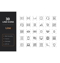 30 line icons vector image