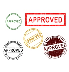 5 grunge stamps approved vector