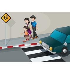a family walking at street vector image