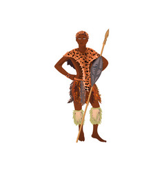 Aborigine african man hunter in tiger leather vector