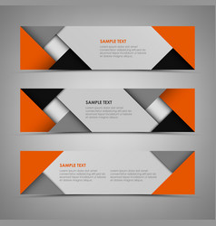 abstract horizontal banners with orange gray vector image