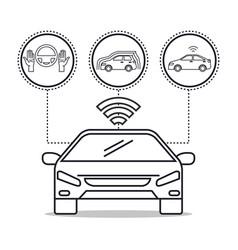 Autonomous car set icons vector