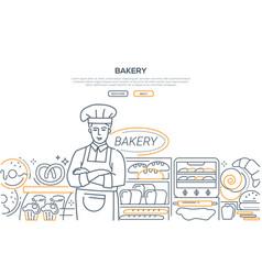 bakery - modern line design style web banner vector image