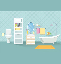 Bathroom interior bath room furniture set vector