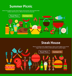 Bbq grill picnic website banners vector