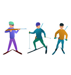 biathlon icons set cartoon style vector image